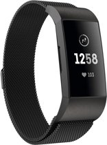 Milanese Loop Armband Voor Fitbit Charge 3 Horloge Band Strap - Milanees Armband Polsband - Zwart