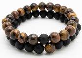 Armband heren – kralen – dubbel snoer – bruin tijgeroog en zwart mat - Sorprese - natuursteen – rond - elastisch – 20 cm - model F