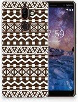 Nokia 7 Plus Uniek TPU Hoesje Aztec Brown