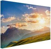 Zonsondergang in de bergen Canvas 80x60 cm - Foto print op Canvas schilderij (Wanddecoratie woonkamer / slaapkamer)