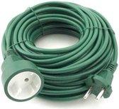 Verlengsnoer /kabel groen 20 meter binnen/buiten - dubbel geisoleerd en geaard