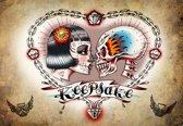 Fotobehang Skull Heart Tattoo | PANORAMIC - 250cm x 104cm | 130g/m2 Vlies