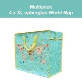 4 x Opbergtas - Big Shopper World Map Multipack