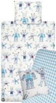 Beddinghouse Kids Funny Robots Dekbedovertrekset inclusief hoeslaken en sierkussen - Blauw - 1-persoons - 140x200/220