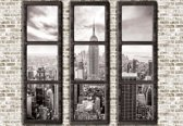 Fotobehang New York City Skyline Window View | XXL - 312cm x 219cm | 130g/m2 Vlies