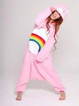 KIMU Onesie Troetelbeer roze regenboog - maat S-M - Troetelbeertjes pak kostuum Cheer Bear berenpak beer jumpsuit festival