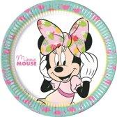 8x Disney Minnie Mouse tropical themafeest bordjes/borden 23 cm - Gebaksbordjes - Kinderfeestje papieren tafeldecoraties
