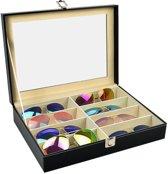 Luxe Brillendoos Display - Opbergbox Voor Het Opbergen Van 8 Brillen Of Zonnebrillen - Brillen Opbergdoos Met Glazen Deksel - Zwart Leder