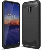 Nokia 2.2 Carbone Brushed Tpu Zwart Cover Case Hoesje