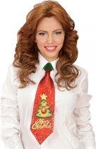 Glitter stropdas kerstboom met belletje