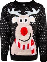 JAP Foute kersttrui - Rudolf met 3D neus voor volwassenen - Dames en heren - XL - Zwart