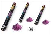 3x Kleuren poeder Shooter 40 cm paars