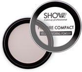 SHOW by MBK - compact poeder - lichte textuur - fluweelachtig - porselein / meest lichte tint - matte finish - nummer 01 porcelaine - 1 doosje met 10 gram