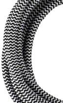 Textiel snoer 2C Zwart/Wit 3 meter