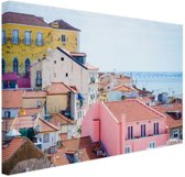 Kleurrijk Lissabon Canvas 30x20 cm - klein - Foto print op Canvas schilderij (Wanddecoratie woonkamer / slaapkamer) / Steden Canvas Schilderijen