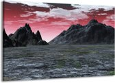 Canvas schilderij Bergen | Grijs, Paars, Wit | 140x90cm 1Luik