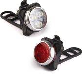 Gyon® USB Herlaadbare fietslicht set - UltraHelder Voorlicht en Achterlicht met LED verlichting 650mah Lithium batterij - Waterbestendig Inclusief riem en USB kabel