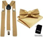 Bretels inclusief vlinderdas en pochette - Goud - Sorprese - met stevige clip - bretels - vlinderdas – strik – strikje – pochet - luxe - unisex - heren - giftset