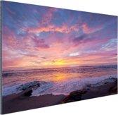 Avondlicht boven de zee Aluminium 60x40 cm - Foto print op Aluminium (metaal wanddecoratie) / Zee en Strand