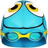 Waimea Zwemmuts Vis met Zwembril - Junior - Lichtblauw/Wit/Zwart/Geel