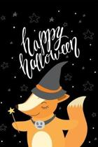 Happy Halloween: Lined Writing Journal Notebook - Trick or Treat Witch Critter with Stars on Black Background - 120 pages - (6 x 9 inch