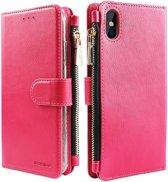 Xssive Wallet Book Case met Ritsvak voor Apple iPhone XS MAX - Book Case - Pink