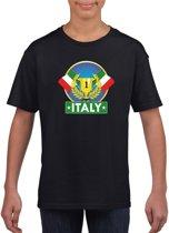 Zwart Italiaans kampioen t-shirt kinderen - Italie supporter shirt jongens en meisjes XS (110-116)