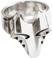 De grote zilveren wolvenkop ring 18mm