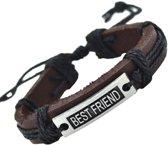 Fako Bijoux® - Armband - Leder - Best Friend - Zwart