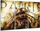 Glasschilderij Eiffeltoren | Wit, Bruin | 120x80cm 3Luik | Foto print op Glas |  F003326