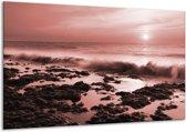 Glas schilderij Zee, Strand | Bruin, Rood | 120x70cm 1Luik | Foto print op Glas |  F006408