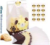25 Transparante Uitdeelzakjes Hond Design Geel 10 x 10 cm met plakstrip - Cellofaan Plastic Traktatie Kado Zakjes - Snoepzakjes - Koekzakjes - Koekje - Cookie Bags Present for You - Incl. Stickers