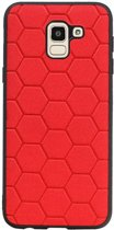 Hexagon Hard Case voor Samsung Galaxy J6 Rood