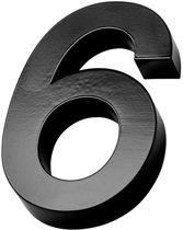 Xaptovi 3D Huisnummer 6 Materiaal: RVS - Hoogte: 20cm - Kleur: Zwart