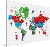 Kleurrijke wereldkaart op een witte achtergrond Canvas 180x120 cm - Foto print op Canvas schilderij (Wanddecoratie woonkamer / slaapkamer) XXL / Groot formaat!