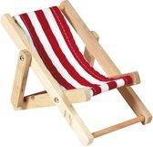 Goki Houten poppen ligstoel rood wit