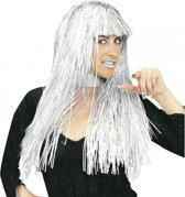 Zilveren folie pruik lang