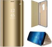 Samsung Galaxy S9 - Lederen Spiegel Wallet Hoesje Goud met Siliconen Houder - Portemonee Hoesje
