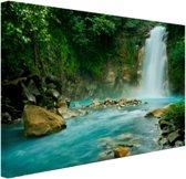 Rio Celeste waterval Canvas 120x80 cm - Foto print op Canvas schilderij (Wanddecoratie woonkamer / slaapkamer)