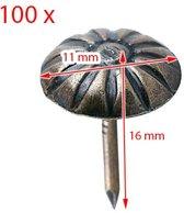 100 deco spijkers (punaises) met bloem, brons, 11x16 mm
