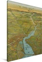 Kleurrijke en historische stadskaart van Amsterdam Canvas - Plattegrond 60x90 cm - Foto print op Canvas schilderij (Wanddecoratie woonkamer / slaapkamer)