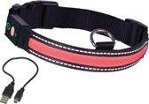 Nobby halsband verlicht verstelbaar en oplaadbaar rood 34-41 x 2,5 cm - 1 ST