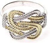 Mattenklopper ring zilver met goud