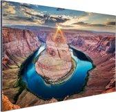 Horseshoe Bend Grand Canyon  Aluminium 90x60 cm - Foto print op Aluminium (metaal wanddecoratie)