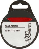 Satijn lint, rood, b: 10 mm, 10m