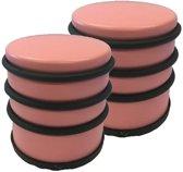 2x Lichtroze rond deurstoppers met rubberen bescherming - 7 x 7.5 cm - 1 kg - roze deurstop
