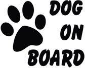 EPIN   Dog On Board Auto Sticker   Hond Aan Boord Autosticker   15x12 CM   ZWART