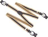Luxe Bretels - Met Clips en Leren Patten - Knoopsluiting - Camel Bruin Donkerblauw - Y Vorm - 35 mm
