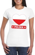 Polen hart vlag t-shirt wit dames M