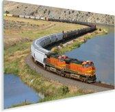 Een oranje gekleurde trein Plexiglas 90x60 cm - Foto print op Glas (Plexiglas wanddecoratie)